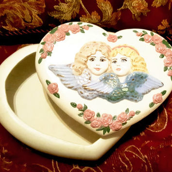 Huge Heart Shaped Vanity Trinket Jewelry Box Decorated with Design of Two Blond Angels Cherubs and Flowers
