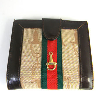 Vintage wallet, chocolate brown leather and red, green stripes on gold canvas