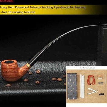 DCCKFS2 MUXIANG Churchwarden Long Stem Rosewood Smoking Pipe for Weed 3mm Metal Filter Wooden Tobacco Pipe Acrylic Mouthpiece ad0008