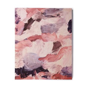 "Iris Lehnhardt ""Abstract Brush Strokes"" Pink Lavender Abstract Pattern Painting Birchwood Wall Art"