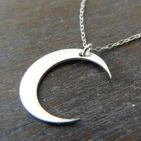 Moon Necklace - MIDNIGHT Brushed Sterling Silver Crescent Moon Necklace
