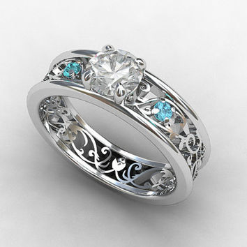 Aquamarine engagement ring, white sapphire, filigree ring, vintage style, sapphire engagement, unqiue, wedding ring, white gold