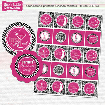 8 bachelorette cupcake toppers / Zebra hot pink printable bachelorette party decoration / Personalized DIY bridal shower favor tags