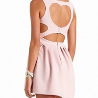 Heart-Back Ottoman Skater Dress: Charlotte Russe