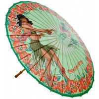RETRO A GO GO BETTIE PAGE HULA TIME PARASOL