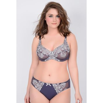 Abigail:  Swirl Embroidered Underwire Bra
