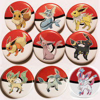 Pokemon Eevee, Vaporeon, Jolteon, Flareon Espeon Umbreon Leafeon Sylveon Buttons