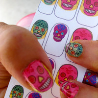 Colorful Sugar Skull Nail Decals Mexican Day of the Dead