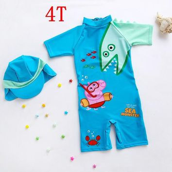 2018 Children Swimwear Dinosaur George Baby Swimsuit Boys UPF50+ Sun Protect One Piece Bathing Suits Swimming Suit for Baby Boy