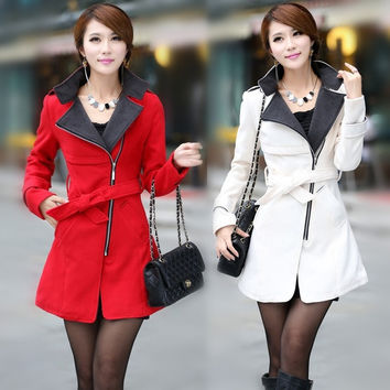 fashion women wool coat long slant zip with belt luxury British style = 1929867524