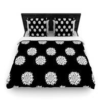 "Suzanne Carter ""Peony Rose"" Black White Woven Duvet Cover"