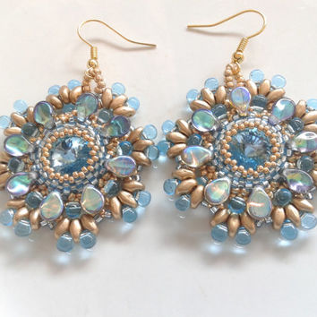 beadwoven earrings handmade with and aquamarine swarovski crystal of 12 mm and pip beads