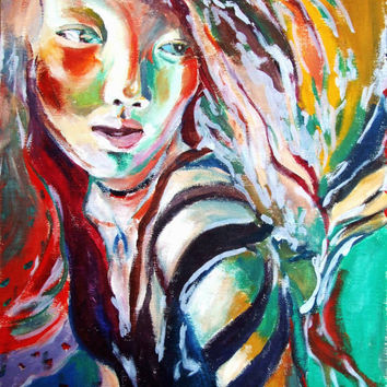 oil painting decoration  A portrait of a girl abstract name running or spring art  on canvas