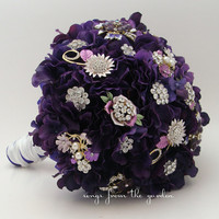 Purple Brooches & Blooms Bridal Bouquet Groom Boutonniere Brooch Bouquet Real Touch Hydrangea Silk Flower Wedding Purple Brooch Bouquet