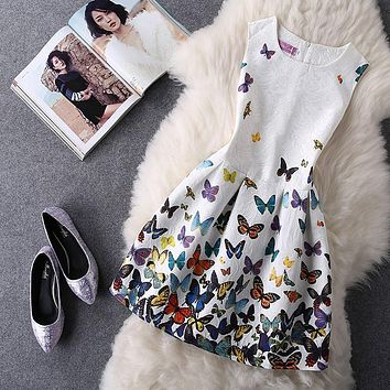 Vestido Casual Butterfly De Festa New Vintage Floral Dress Print Women Mini Short Party Elegant Evening Vestidos Summer Slim