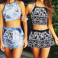 CUTE TWO PIECE TOTEM SUIT ROMPER