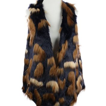 Fallyn (Navy and Brown) Faux Fur Long Pockets Vest