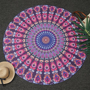 Bohemia Feather Mandala Print Round Beach Throw