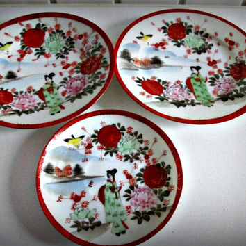 Antique Vintage Lot Of 3 Geisha  Girl Japanese Japan Plate Porcelain Signed, home decor, kitchen decor