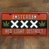 "License plate ""Amsterdam red light District"" garage poster  Painting signs House Cafe Tin sign PUB wall Art decor 15*30 CM"