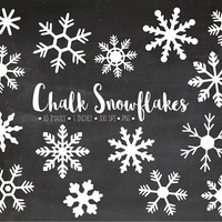 Chalkboard Snowflake Clipart. Christmas Snowflake Clip Art. Chalk Frozen Winter Snowflakes. White Snow Clipart. Chalk Digital Snowflakes.