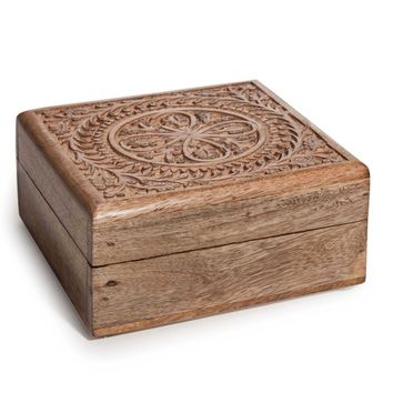 MANDALA sculpted wooden box | Maisons du Monde