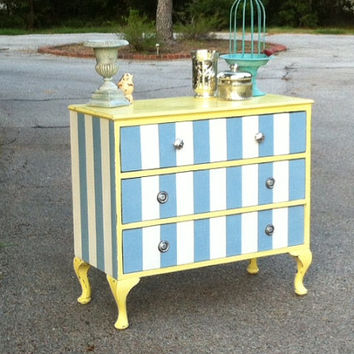 Shabby Chic Striped Dresser