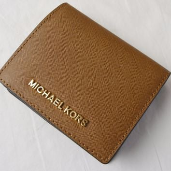 Michael Kors Luggage Saffiano Leather Jet Set Carryall Card Case Wallet