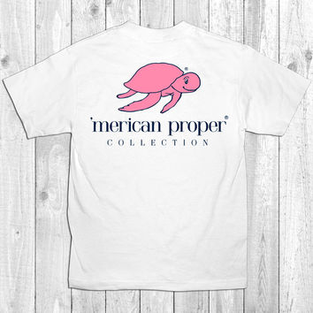 Merican Proper Collection Turtle Logo Preppy White Southern Bright T-Shirt