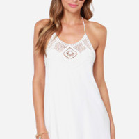 Festival Bound Crochet Ivory Halter Dress
