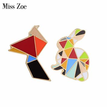 Miss Zoe Origami Animal Bird Rabbit Bunny Brooch Button Pins Denim Jacket Pin Badge Cartoon Cute Jewelry Gift for Kids