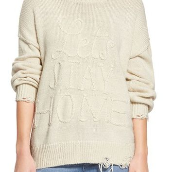 Wildfox 'Let's Stay Home' Distressed Sweater | Nordstrom