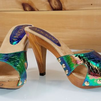 "Mac J Peacock Iridescent Snake Cut Out Slip On 4"" High Heel Mule Sandal Shoes"