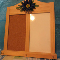 Message Center - Wood - Cork Board and Whiteboard With Hooks - Blue Flower Accent