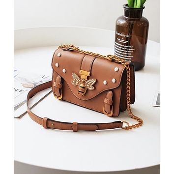 Gucci New Popular Women Shopping Bag Leather Metal Chain Bee Single Shoulder Bag Handbag Crossbody Satchel Brown I13149-1