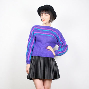 Vintage Purple Sweater Pullover Jumper Mohair Sweater New Wave 1980s 80s Avant Garde Textured Jumper Pink Teal Striped Mod S Small M Medium