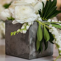 Square Cement Style Vase