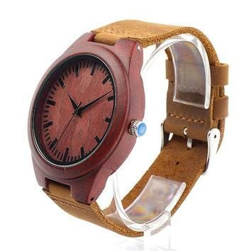 Evolate - Men's Red Sandal Wood, Leather Band, Analog Wristwatch