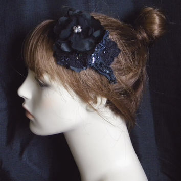 Gothic Bridal Hair Fascinator,  Dark Gray Beaded Headpiece, Black Satin Foral Head Piece, Wedding Accessory