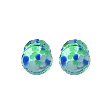 BodyJ4You Plugs Glass Saddle Multicolor Pebble Earrings Stretching Set 2G 6mm Body Piercing Jewelry