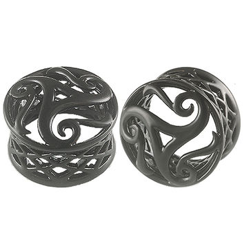 Triskell Triskele Double-Flared Plug [Gauge: 3/4 inch - 20mm] Alloy (Black) // Set of 2