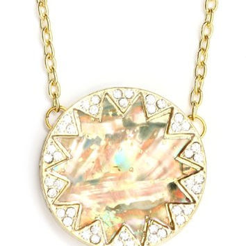 Mother of Pearl Geometric Sunburst Necklace Crystal Star Gold Tone NJ38 Vintage Retro Pendant