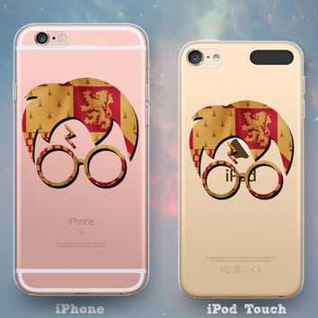 House Gryffindor Crest Flag Glasses & Scar Harry Potter Clear See-Through Rubber Case for iPhone 7 6s 6 Plus iPhone SE 5s 5 5c iPod Touch