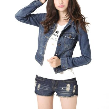 Jacket, Jean Women's Denim Jacket Vintage Cropped Short Denim Jackets Long-Sleeve  S-4XL