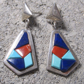 Vintage Native American Lapis Coral Turquoise Dangle Earrings Christin Wolf