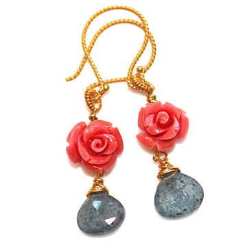 Carved Coral Rose Earrings Moss Aquamarine Wire Wrapped Gold Vermeil Gemstone Jewelry