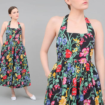 Vintage 80s does 50s Black Floral Sundress Retro Rockabilly Halter Dress Full Skirt Button Up Cotton Midi Dress Small XS S