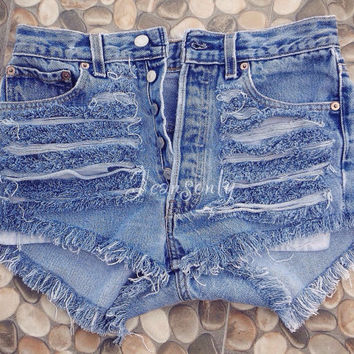 High waisted denim shorts Levi distressed cut off
