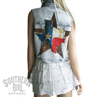 Texas Acid Wash Denim Jean Vest. Texas Star. Texas Vest. Texas Denim Vest. Denim Vest. Texas Flag. Southern Girl Clothing. Country Clothing.