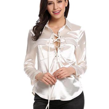 Abigail Lace Up Silk Top - White